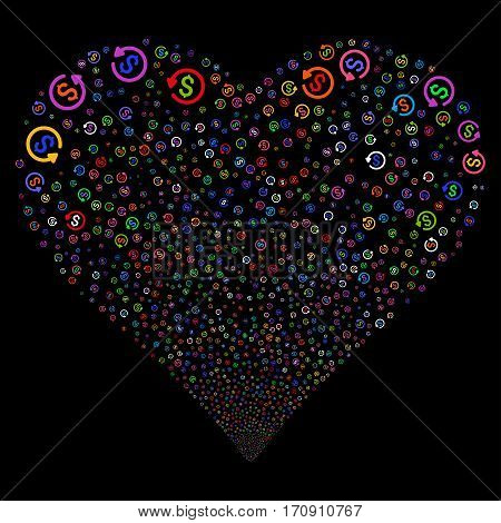 Refund fireworks with heart shape. Vector illustration style is flat bright multicolored iconic symbols on a black background. Object heart organized from random pictographs.