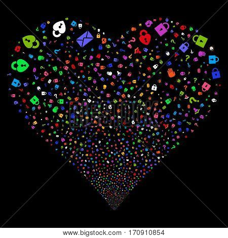 Secrecy Symbols fireworks with heart shape. Vector illustration style is flat bright multicolored iconic symbols on a black background. Object heart organized from random pictographs.
