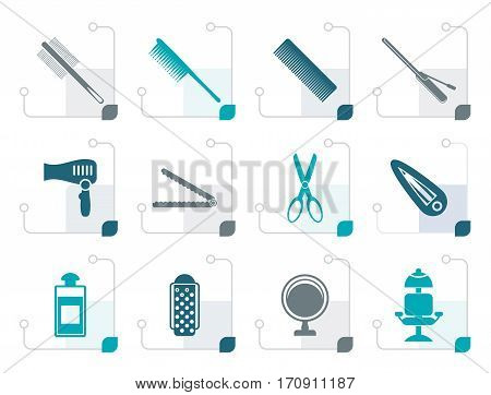 Stylized hairdressing, coiffure and make-up icons- vector icon set