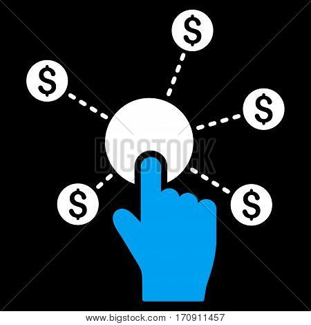 Click Financial Network vector icon. Flat bicolor blue and white symbol. Pictogram is isolated on a black background. Designed for web and software interfaces.