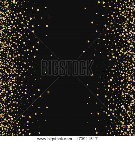 Gold Confetti. Scattered Frame On Black Background. Vector Illustration.