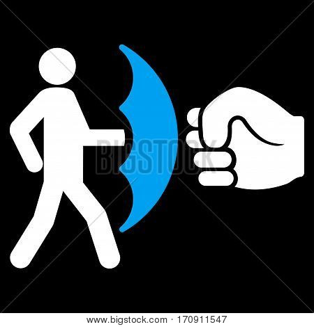Crime Protection vector icon. Flat bicolor blue and white symbol. Pictogram is isolated on a black background. Designed for web and software interfaces.