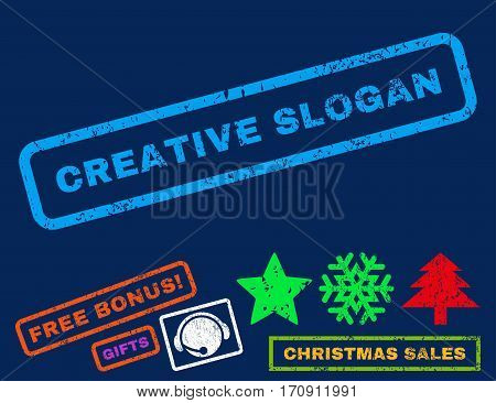 Creative Slogan text rubber seal stamp watermark with bonus christmas symbols. Tag inside rectangular shape with grunge design and unclean texture.