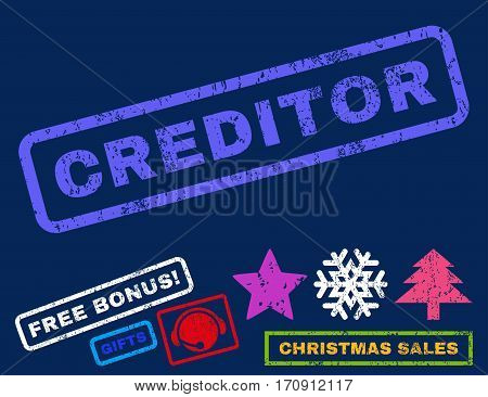 Creditor text rubber seal stamp watermark with additional bonus new year symbols. Caption inside rectangular shape with grunge design and dust texture.