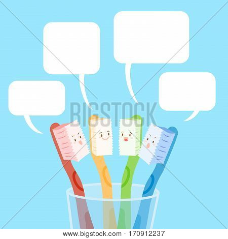 cute cartoon tooth brush with speach bubble