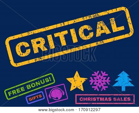 Critical text rubber seal stamp watermark with bonus christmas symbols. Tag inside rectangular shape with grunge design and dirty texture.