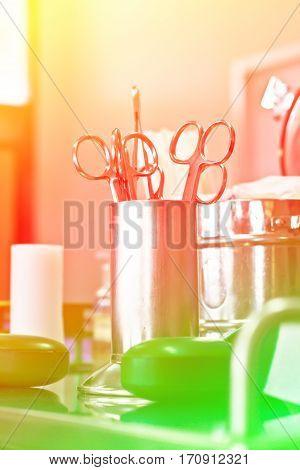 Close up medical instruments for ENT doctor