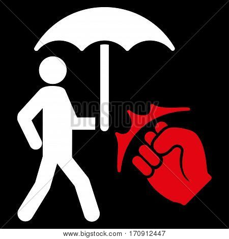 Crime Coverage vector icon. Flat bicolor red and white symbol. Pictogram is isolated on a black background. Designed for web and software interfaces.