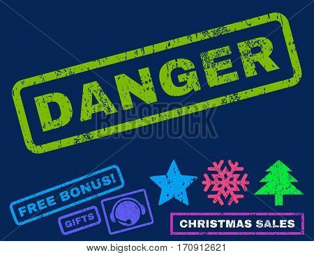 Danger text rubber seal stamp watermark with additional bonus new year symbols. Caption inside rectangular banner with grunge design and dirty texture.