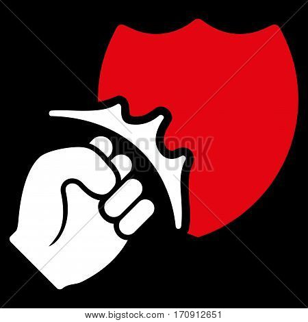Fist Strike Shield vector icon. Flat bicolor red and white symbol. Pictogram is isolated on a black background. Designed for web and software interfaces.