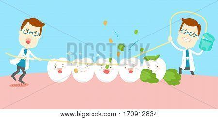 cute cartoon dentist use floss clean tooth