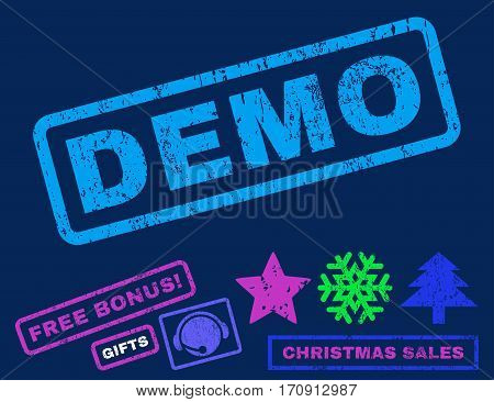 Demo text rubber seal stamp watermark with bonus new year symbols. Tag inside rectangular banner with grunge design and unclean texture.