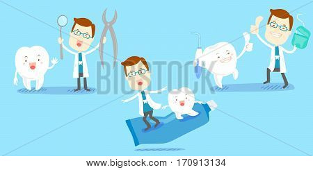 cute cartoon dentist play with tooth happily