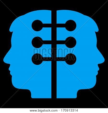 Dual Head Interface vector icon. Flat blue symbol. Pictogram is isolated on a black background. Designed for web and software interfaces.