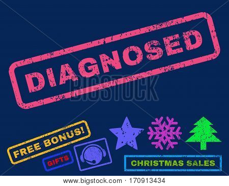 Diagnosed text rubber seal stamp watermark with additional bonus new year symbols. Tag inside rectangular banner with grunge design and scratched texture.