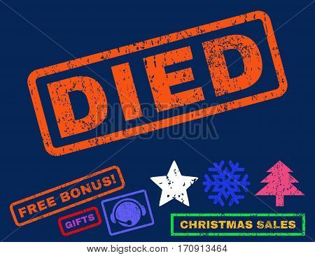 Died text rubber seal stamp watermark with additional bonus christmas symbols. Tag inside rectangular banner with grunge design and dirty texture.