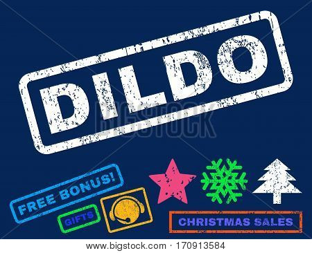 Dildo text rubber seal stamp watermark with additional bonus new year symbols. Tag inside rectangular shape with grunge design and dust texture.