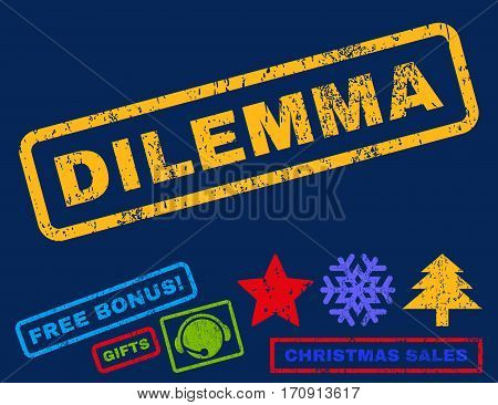 Dilemma text rubber seal stamp watermark with bonus new year symbols. Tag inside rectangular banner with grunge design and scratched texture.