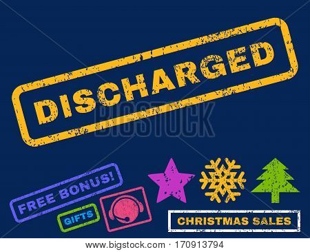 Discharged text rubber seal stamp watermark with bonus christmas symbols. Caption inside rectangular banner with grunge design and scratched texture.