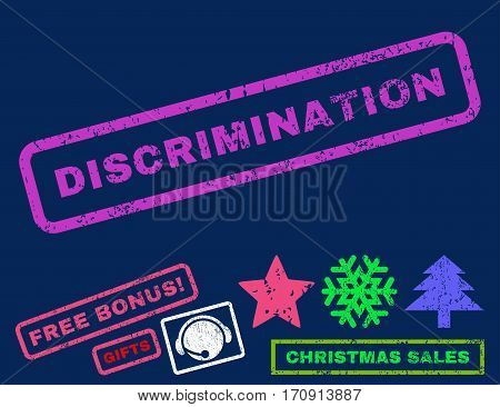Discrimination text rubber seal stamp watermark with bonus christmas symbols. Tag inside rectangular shape with grunge design and dirty texture.