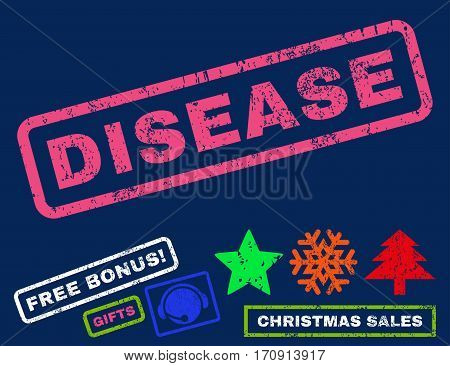 Disease text rubber seal stamp watermark with additional bonus christmas symbols. Tag inside rectangular shape with grunge design and dust texture.