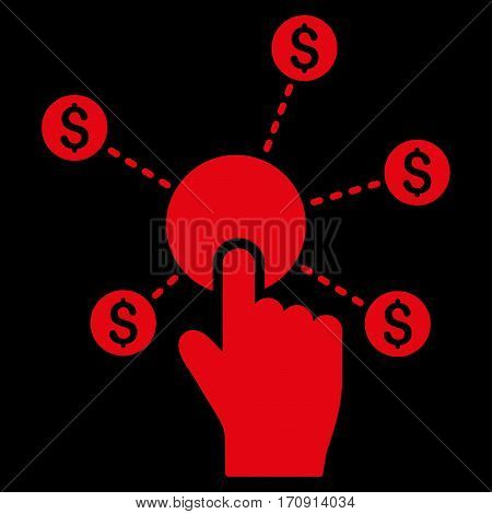Click Financial Network vector icon. Flat red symbol. Pictogram is isolated on a black background. Designed for web and software interfaces.