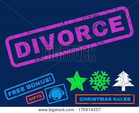 Divorce text rubber seal stamp watermark with additional bonus christmas symbols. Tag inside rectangular banner with grunge design and dust texture.
