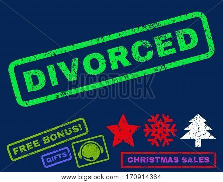 Divorced text rubber seal stamp watermark with additional bonus christmas symbols. Tag inside rectangular shape with grunge design and unclean texture.