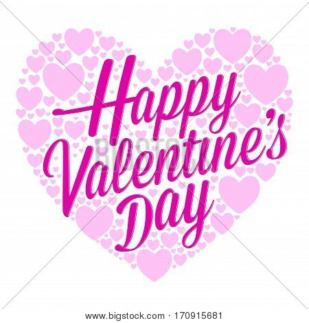 Vector stock of happy valentines lettering surrounded with tiny hearts background