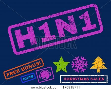 H1N1 text rubber seal stamp watermark with bonus christmas symbols. Tag inside rectangular banner with grunge design and dirty texture.