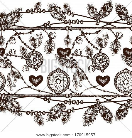 Pattern of dream catcher and feathers. Beads on a background. Ethnic seamless pattern in native style. Bright colored feathers and beads on white background. Vector decorative elements hippie