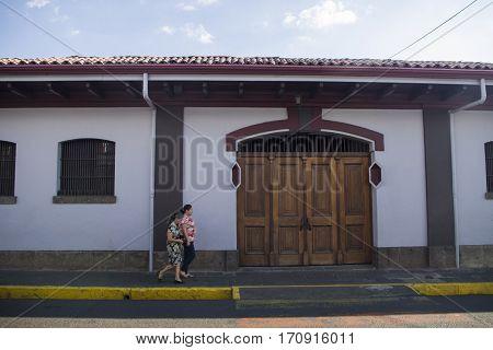 ALAJUELA, COSTA RICA - January 23: Museum of Juan Santa Maria in Alajuela downtown, formerly  military barracks and Alajuela prison. January 23, 2016 in Alajuela