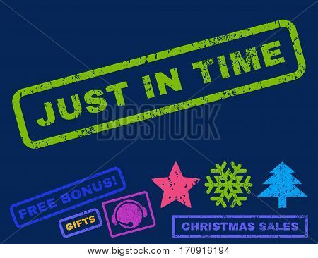 Just In Time text rubber seal stamp watermark with bonus christmas symbols. Caption inside rectangular banner with grunge design and scratched texture.