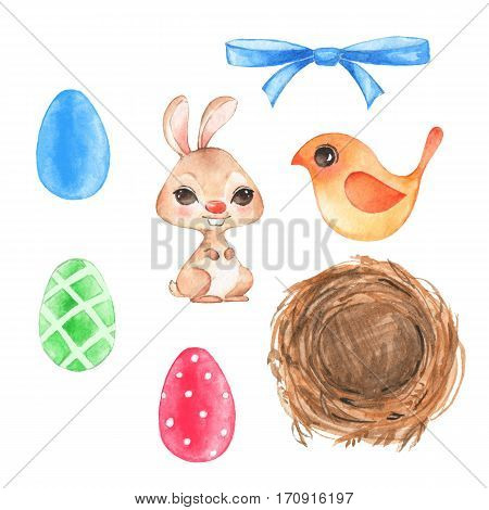 Watercolor easter set. Hand drawn elements for design.