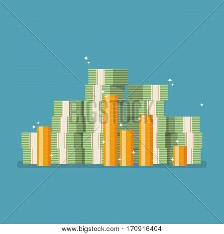 Cash money in flat style. Vector illustration