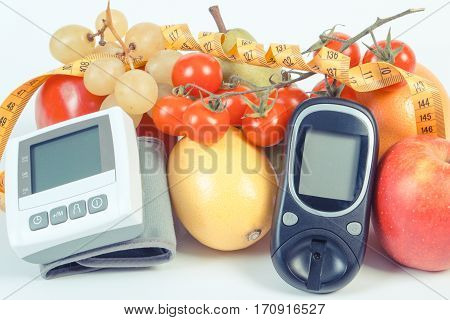 Vintage Photo, Glucometer, Blood Pressure Monitor, Fruits With Vegetables And Centimeter, Healthy Li