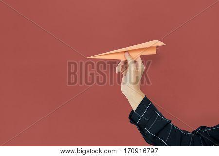 Human Hand Holding Papercraft Airplane Goals Target Aspirations