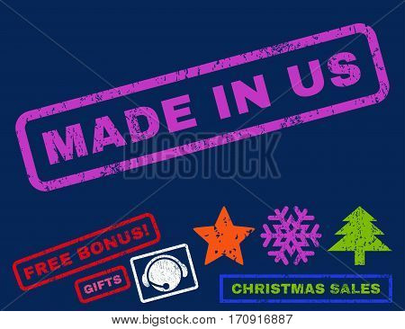 Made In Us text rubber seal stamp watermark with additional bonus new year symbols. Tag inside rectangular banner with grunge design and scratched texture.