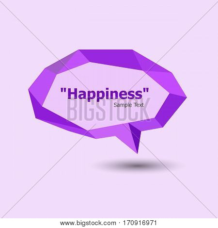 Purple polygonal geometric speech bubble, stock vector