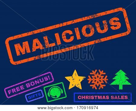 Malicious text rubber seal stamp watermark with additional bonus christmas symbols. Tag inside rectangular banner with grunge design and dirty texture.