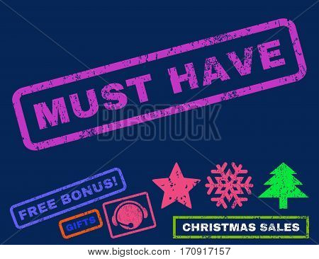Must Have text rubber seal stamp watermark with additional bonus new year symbols. Tag inside rectangular shape with grunge design and dirty texture.