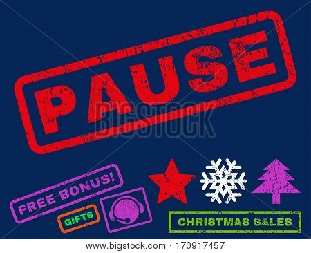 Pause text rubber seal stamp watermark with additional bonus christmas symbols. Tag inside rectangular shape with grunge design and dust texture.