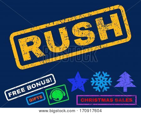 Rush text rubber seal stamp watermark with bonus new year symbols. Tag inside rectangular banner with grunge design and dust texture.