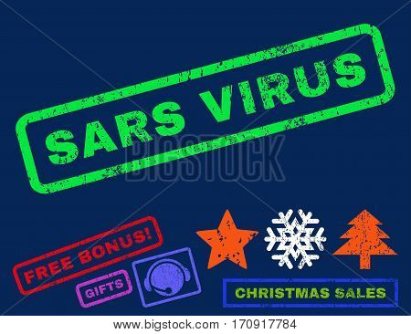 Sars Virus text rubber seal stamp watermark with bonus new year symbols. Caption inside rectangular banner with grunge design and unclean texture.