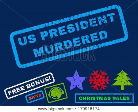 Us President Murdered text rubber seal stamp watermark with bonus new year symbols. Tag inside rectangular shape with grunge design and dust texture.