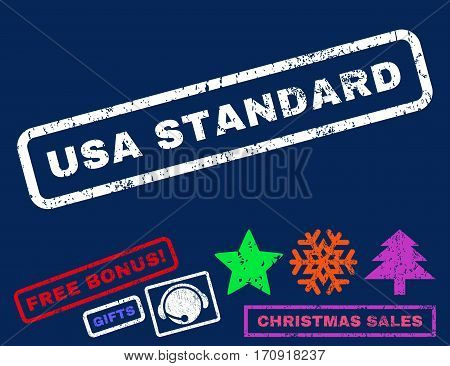 USA Standard text rubber seal stamp watermark with additional bonus new year symbols. Caption inside rectangular shape with grunge design and unclean texture.