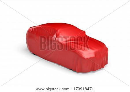 3d rendering of a car covered by red cloth. Ads and promotion. Marketing campaigns. Opening shows.
