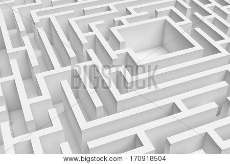 3D rendering of the white square maze consruction approximated. 3D render. Concept design. Abstract art