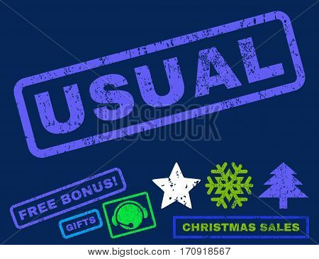 Usual text rubber seal stamp watermark with additional bonus christmas symbols. Tag inside rectangular banner with grunge design and unclean texture.