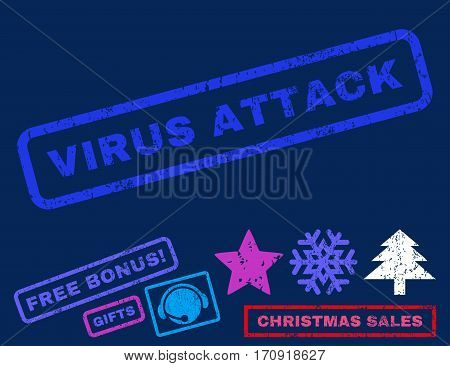 Virus Attack text rubber seal stamp watermark with bonus new year symbols. Caption inside rectangular banner with grunge design and dirty texture.